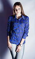Рубашка теплая Клетка р.42-50 синий
