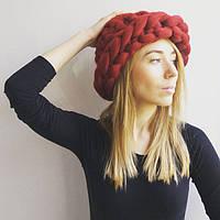 Вязаная объемная шапка