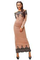 """Элегантное длинное бежевое платье """" Майя """" с кружевом. Арт-8817/74"""