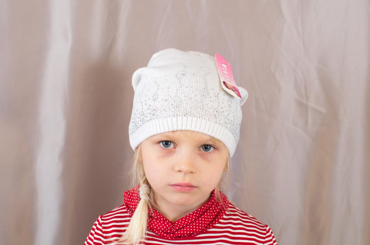 Яркая осенняя детская шапка со стразами с прищепом сзади
