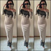 """Элегантное длинное кремовое платье """" Майя """" с кружевом. Арт-8817/74"""