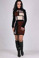 Вязаное зимнее платье Кубик коричневое