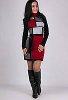 Вязаное зимнее платье Кубик бордо