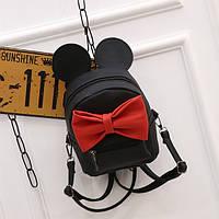Черный маленький рюкзак с красным бантиком Микки Маус ( код: IBR083BR )