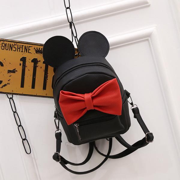 d85e77387d38 Черный маленький рюкзак с красным бантиком Микки Маус - Интернет-магазин