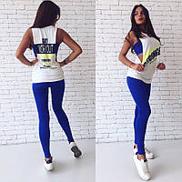 Костюм женский тройка для спорта и фитнеса топ лосины майка - Синий