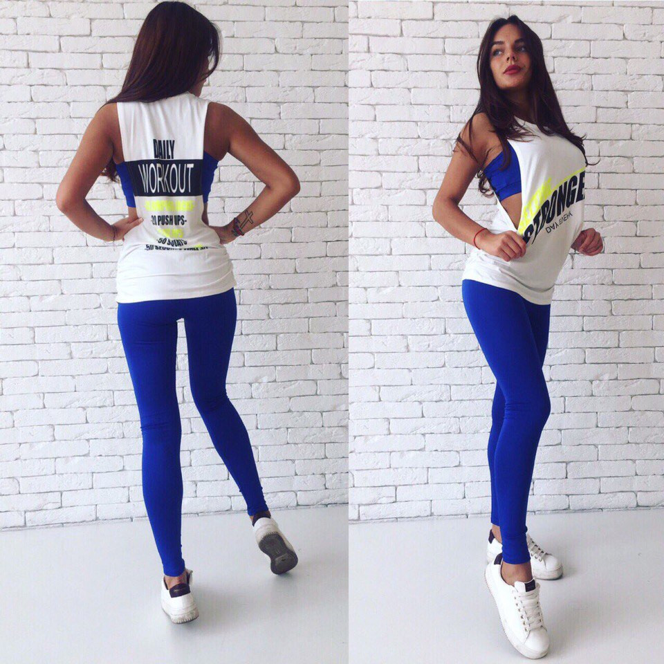 Костюм женский тройка для спорта и фитнеса топ лосины майка - Синий - Sez On - Ваш сезон успешных покупок. в Одессе
