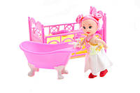 Кукла маленькая ymd849 с кроваткой, ванночкой аксессуарами в пакете 7*7*12 см