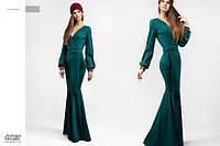 """Зеленое длинное платье """" Лиза """" с длинным рукавом. Арт-8820/74"""