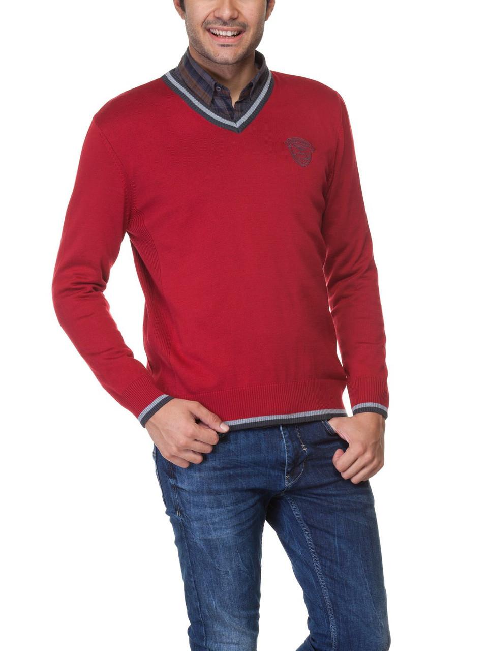 Мужской красный свитер LC Waikiki с фирменным логотипом