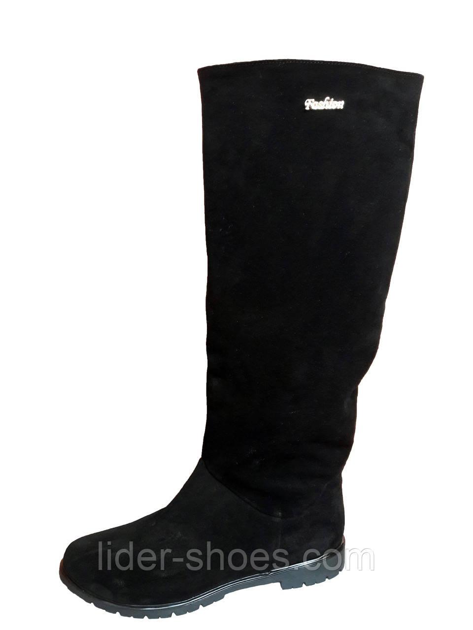 f00d93838 Женские замшевые сапоги без каблука - Интернет-магазин