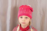 Детская шапка на девочку с ушками и со стразами