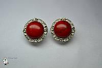 Сережки из красной бирюзы