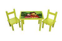 """Столик деревянный с двумя стульчиками """"Маша и Медведь"""""""