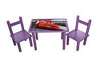 """Деревянный столик и два стульчика """"Тачки"""""""