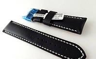 Ремешок Hightone, кожаный, с белой строчкой, анти-аллергенный, черный, фото 1