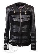 Черная кожаная куртка женская с замшей
