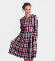 16142 Платье в клетку вишневое с серым отрезное по талии юбка в складку