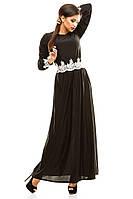 """Стильное черное платье """" Скарлетт """" с белым кружевом . Арт-8826/74"""