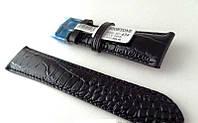 Ремешок Hightone, кожаный, анти-аллергенный, черный под крокодила, фото 1