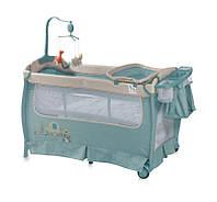 """Манеж кровать со вторым уровнем и пеленатором """"Sleep"""" blue"""