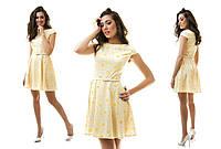 Платье из летней костюмной ткани и поясок