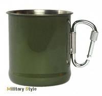Кружка военная стальная с карабином (Olive)