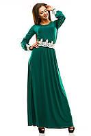 """Стильное зеленое платье """" Скарлетт """" с белым кружевом . Арт-8826/74"""