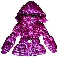 Куртка детская осенняя для девочки, сиреневая,116 см