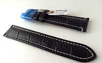 Ремешок Hightone, кожаный, анти-аллергенный, черный с белой строчкой, фото 1