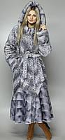 Длинная искусственная шуба  серо-голубой леопард М-101 44-58 размеры