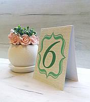 Номер на свадебный стол двусторонний  (мята)