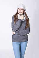 Стильный комплект (шапка с хомутом) цвета светло-серый
