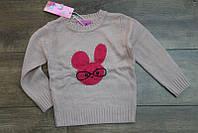 Вязанный свитер для девочек 1 и 4 лет Цвет:персиковый, малиновый