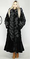Длинная искусственная шуба  черная норка М-101 44-58 размеры
