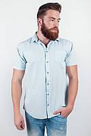 Модная мужская рубашка прямого кроя с короткими рукавами серо-голубая