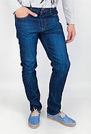 Комфортные мужские джинсы из качественного коттона прямого кроя без потертостей синие