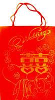 Пакет подарочный, красный с каллиграфией (иероглифами) 3дюйм красный 150х200х55