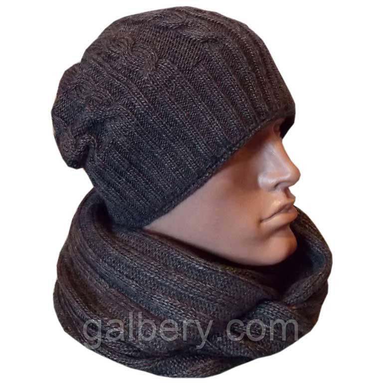 мужская вязаная шапка носок косичка утепленный вариант и