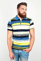 Стильная мужская футболка из приятного материала с воротником поло в горизонтальную полоску сине-желтая