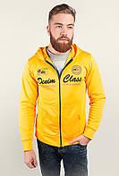 Модная мужская толстовка из приятного материала с удобным капюшоном на застежке молнии желтая, серая, электрик