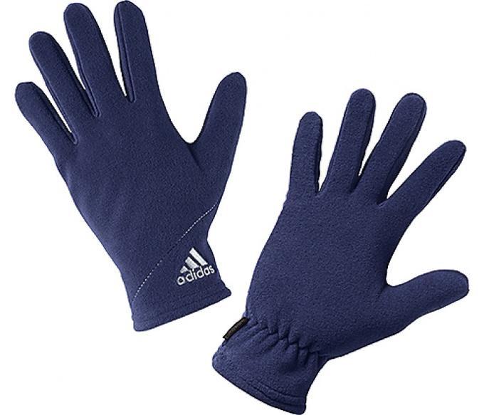Перчатки спортивные adidas CW GLOVES G70627 (синие, полностью из флиса, тренировочные, с логотипом адидас)