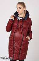 Зимнее пальто для беременных и после Kristin двухсторонее бордо+синее