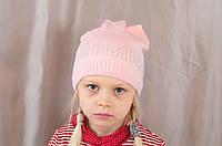 """Детская шапка """"Котик"""" на девочку с ушками и со стразами"""