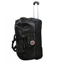 Черная дорожная сумка Misely среднего размера на колесиках с выдвижной ручкой, 55 литров