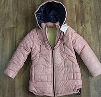 Зимнее пальто ( синтепон- мех ) 128, 146, 152 рост Цвет:персик,синий, бордовый, зеленый