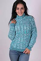 Женский стильный теплый свитер Мила бирюзовый