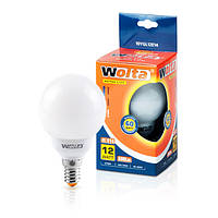 Лампа энергосберегающая Wolta шар теплый 12Вт (60Вт) 10YGL12E14