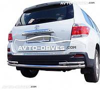 Защита заднего бампера Toyota Highlander, труба с уголками