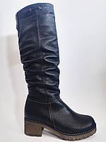 Кожаные женские комфортные стильные зимние черные сапоги на каблуке, натуральная шерсть 37 Romax